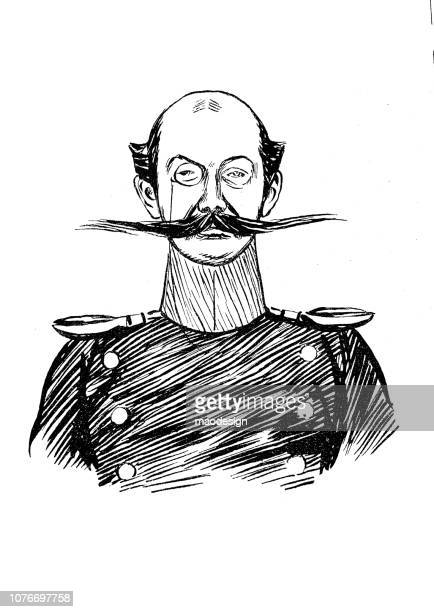 prussian officer with an incredible mustache - 1896 - 1896 stock illustrations, clip art, cartoons, & icons
