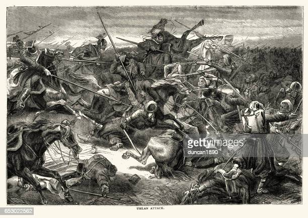 prussian uhlan cavalry attacking french colonial troops franco prussian war - german uhlan stock illustrations