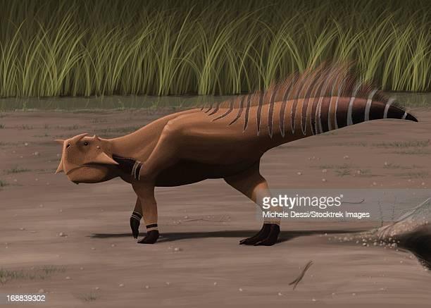 Psittacosaurus sibiricus in a prehistoric landscape.