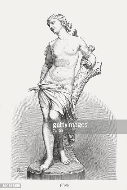 psyche, greek goddess of the soul, wood engraving, published 1879 - greek culture stock illustrations, clip art, cartoons, & icons