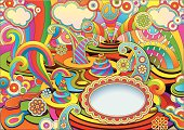 psychedelic background in a retro style