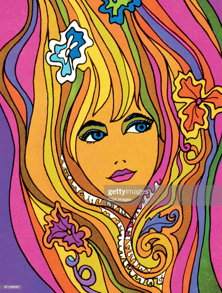 Psychedelic woman : stock illustration
