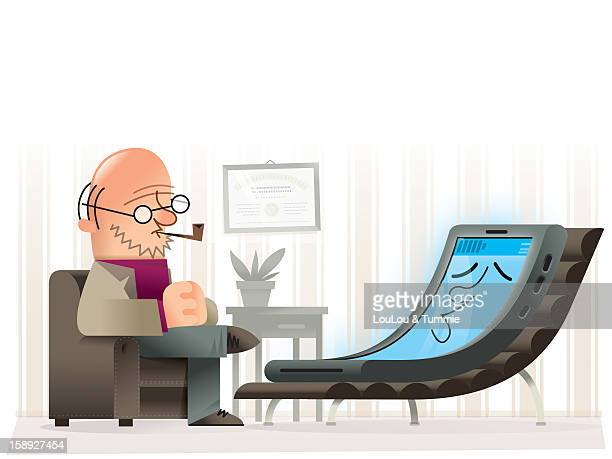 a psychiatrist talking to a mobile device lying on a chair - mental health professional stock illustrations