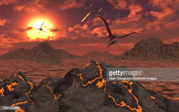 Pterosaurs above a volcanic landscape during the Cretaceous-Paleogene extinction event.