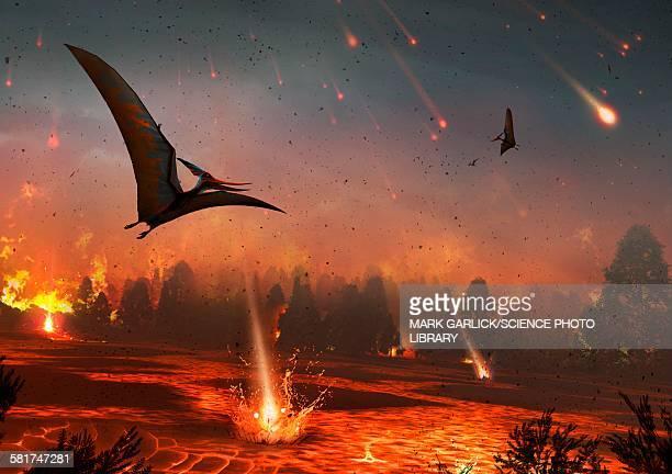 ilustraciones, imágenes clip art, dibujos animados e iconos de stock de pterosaurs and mass extinction - animal extinto
