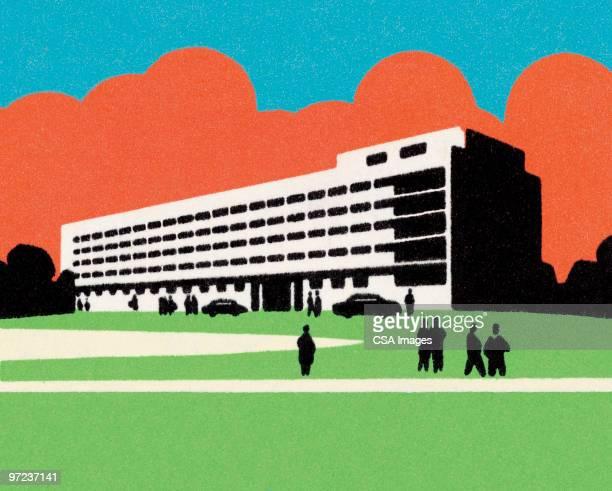 illustrations, cliparts, dessins animés et icônes de public building - hopital batiment
