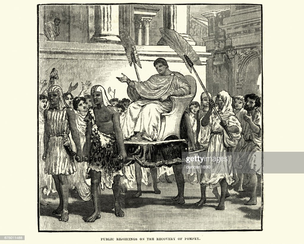 Public rejoiching on the recovery of Pompey : stock illustration