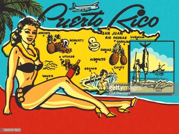 illustrations, cliparts, dessins animés et icônes de carte postale de voyage porto rico - porto rico