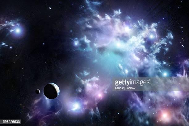 Puffy clouds nebula painting