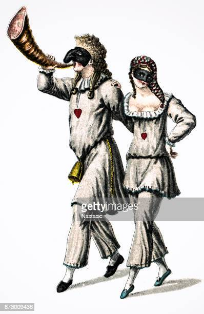pulcinello and pulcinella ,is a comic, masked character from the commedia dell'arte - classical architectural style stock illustrations, clip art, cartoons, & icons
