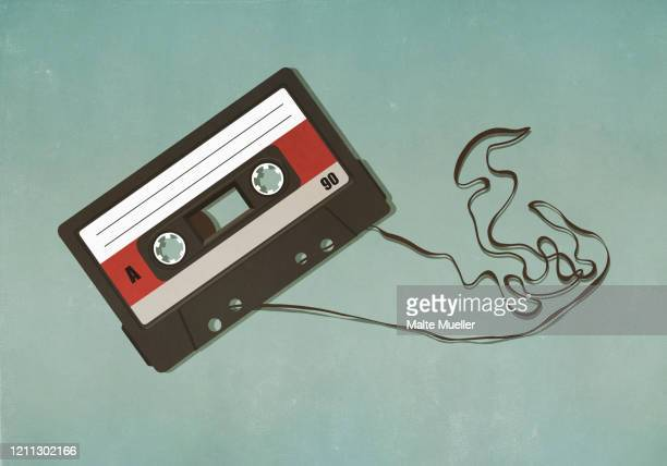 pulled cassette tape - nostalgia stock illustrations