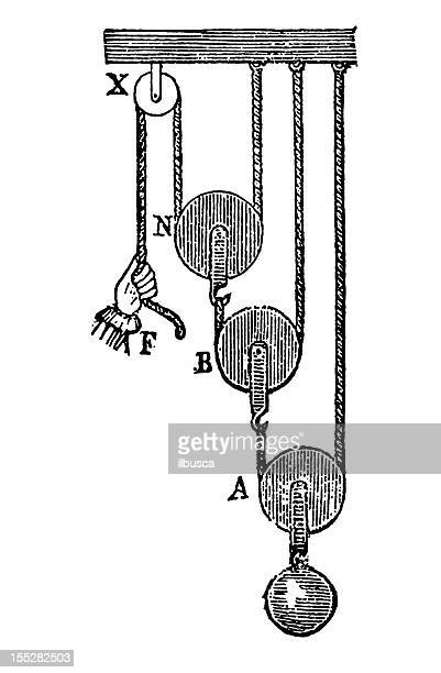 pulley system - mass stock illustrations