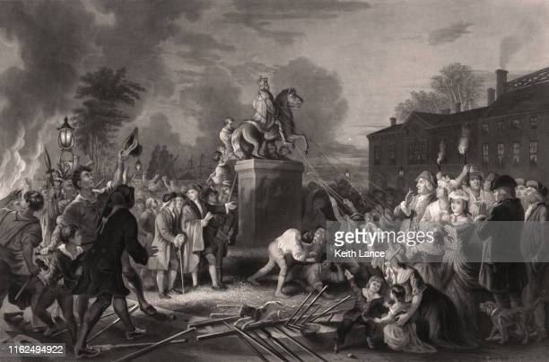 pulling down the statue of king george iii, bowling green, ny, 1776 - declaration of independence stock illustrations