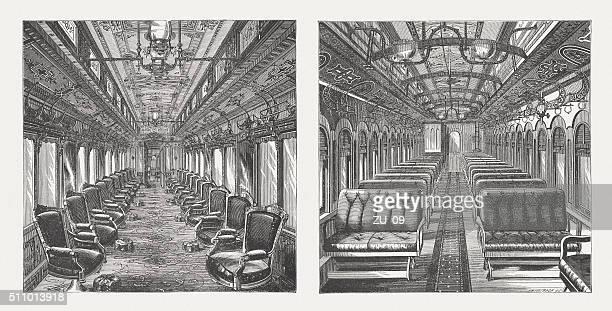 illustrazioni stock, clip art, cartoni animati e icone di tendenza di pullman e automobili, interno in legno vista, incisioni, pubblicata nel 1880 - orient express
