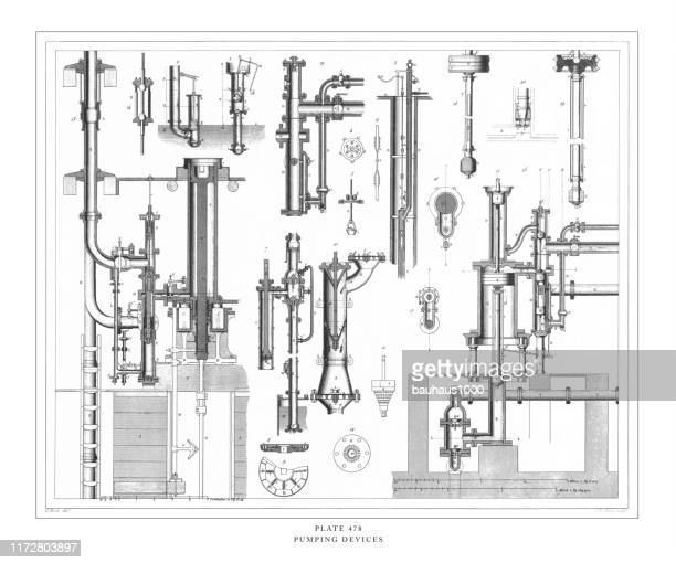 pumping devices engraving antique illustration, published 1851 - air valve stock illustrations, clip art, cartoons, & icons