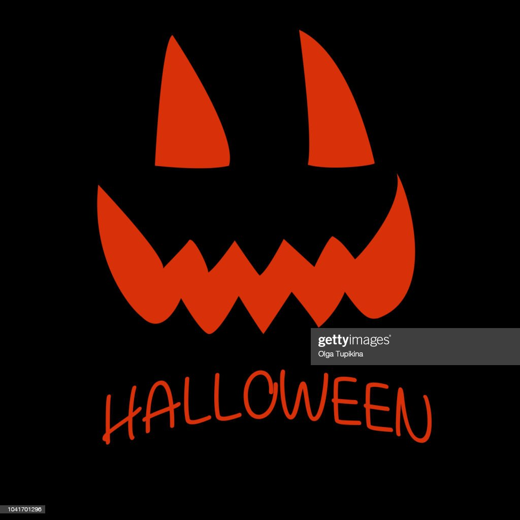 Pumpkin face for Happy Halloween. Pattern isolated black backgro
