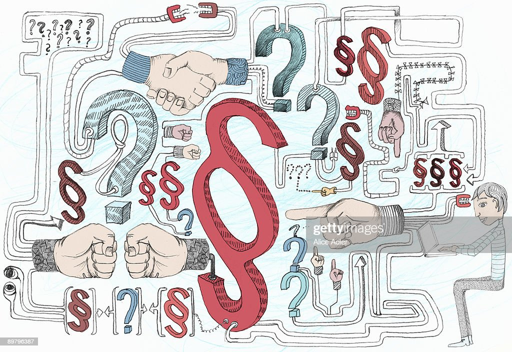 Punctuation marks, human hands making various gestures and a woman using a laptop : stock illustration