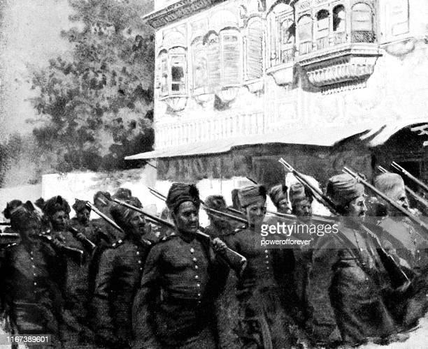 ilustrações, clipart, desenhos animados e ícones de regimento de punjab do exército indiano britânico em lahore, paquistão-british raj era século xix - punjabe