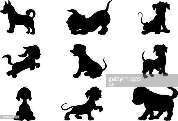 puppies (cartoon style) - tail stock illustrations