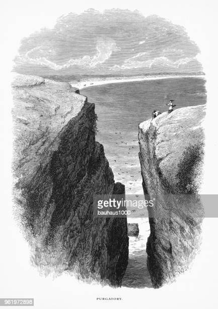 purgatory, newport, rhode island, united states, american victorian engraving, 1872 - afterlife stock illustrations, clip art, cartoons, & icons