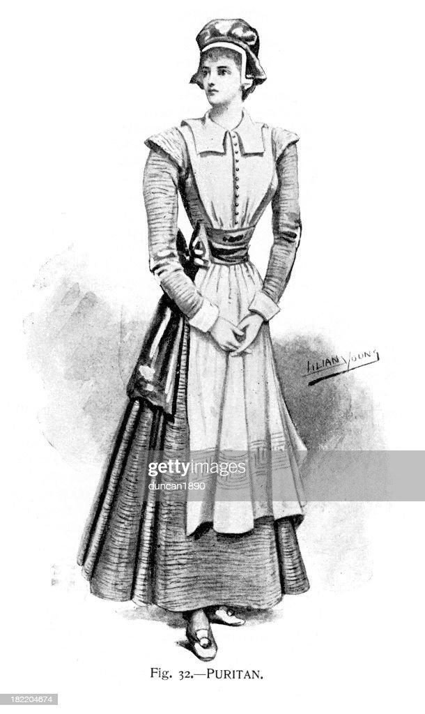 Puritaner-Kostüm-viktorianischen Mode : Stock-Illustration