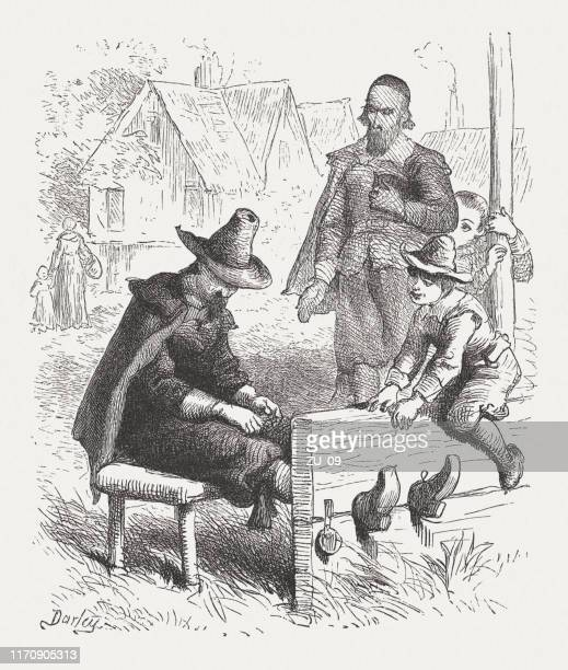 puritan in the pillory, massachusetts bay colony in 17th century - pillory stock illustrations