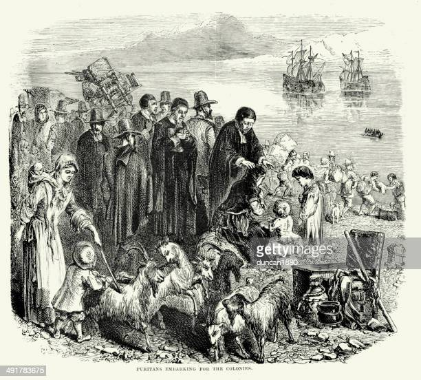 puritans embarking for the colonies - protestantism stock illustrations