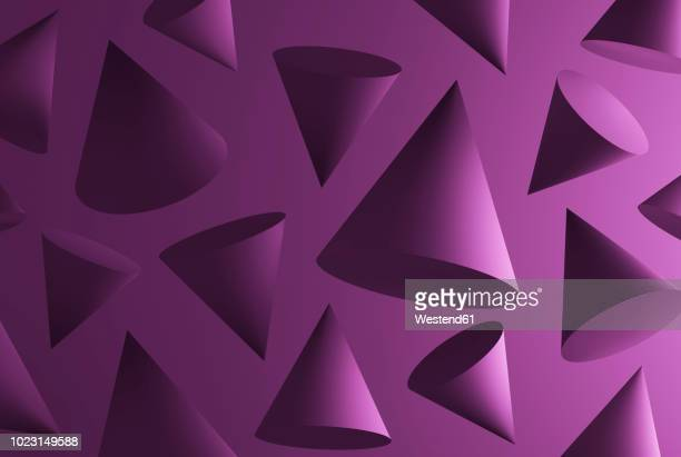 purple cones in front of purple background - group of objects stock illustrations