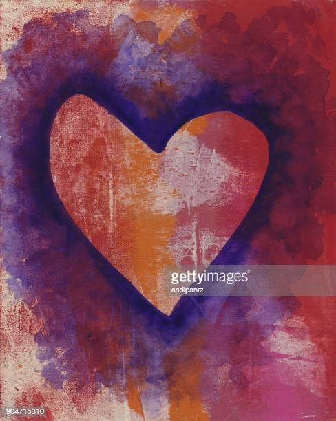 purple heart hand painted on mottled red background - love at first sight stock illustrations