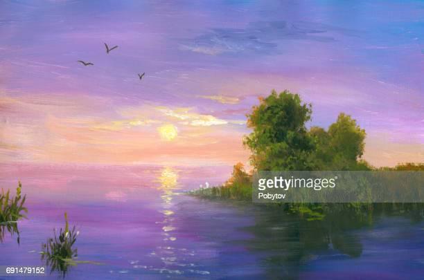 Purple sunset, oil painting