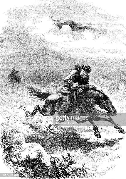 pursuit of paul revere, the scout - boston massachusetts stock illustrations