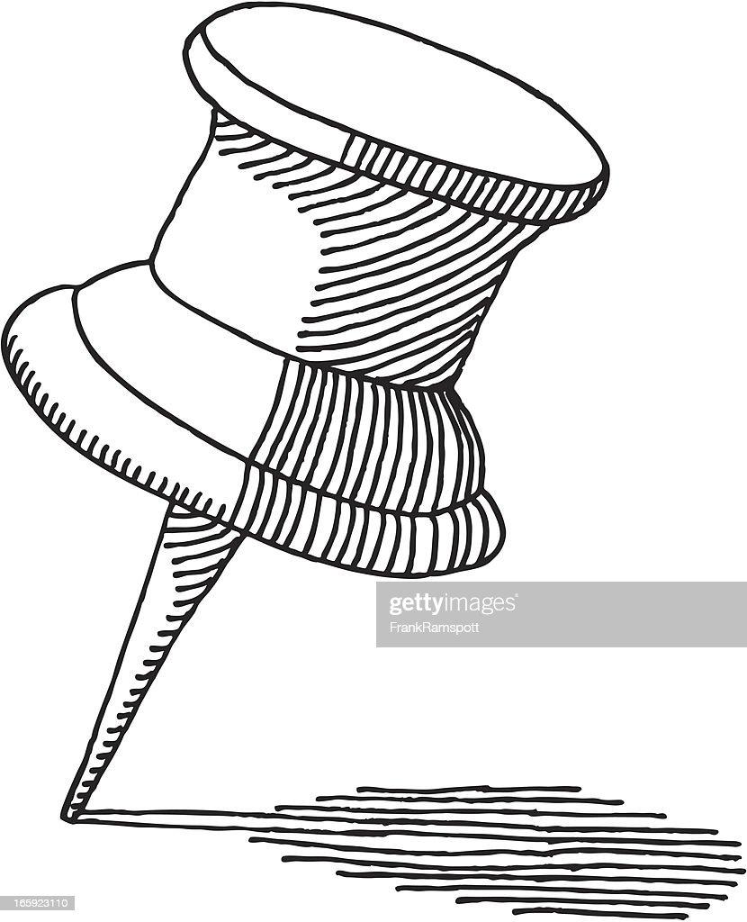 Push Pin Drawing : stock illustration