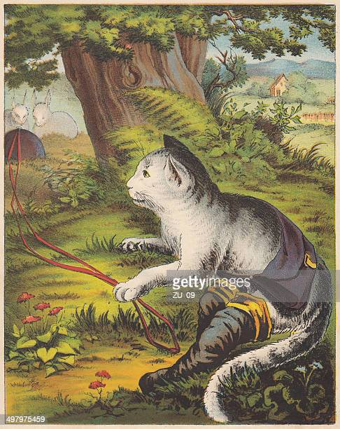 Puss in Boots, fairy tale, lithograph, published in 1875