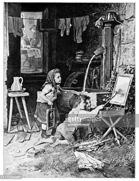 putting on the finishing touches by johann georg meyer von bremen - 19th century - johann georg stock illustrations