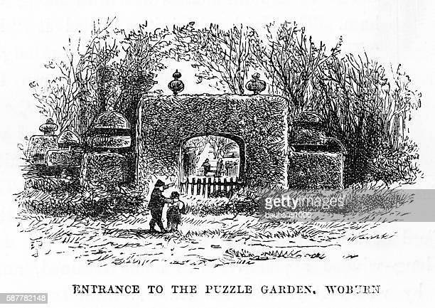Puzzle Garden Entrance, Woburn, England Victorian Engraving, Circa 1840