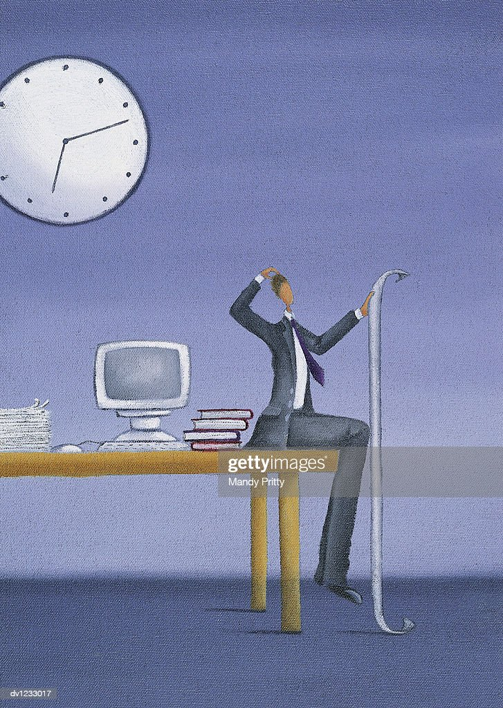 Puzzled Businessman Sitting at the Edge of a Desk Holding a Long Piece of Paper : Stock Illustration