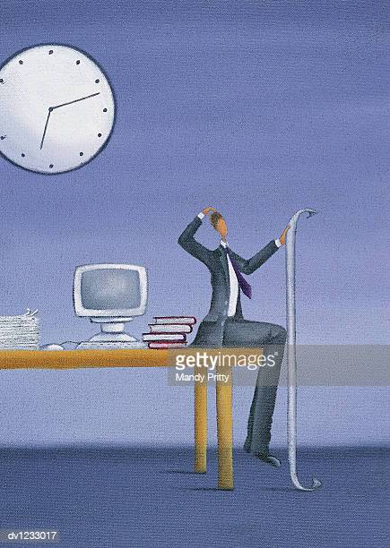 puzzled businessman sitting at the edge of a desk holding a long piece of paper - mandy pritty stock illustrations