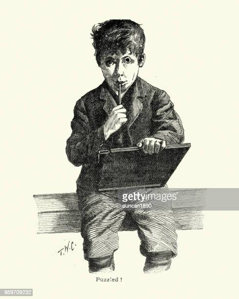 puzzled victorian schoolboy struggling with his homework - 19th century stock illustrations