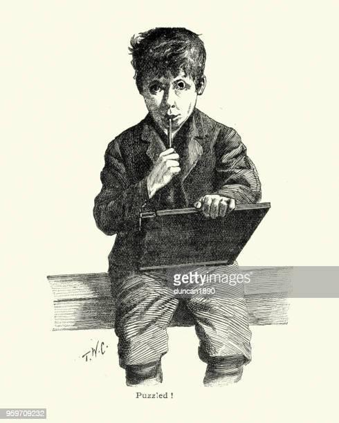 stockillustraties, clipart, cartoons en iconen met verbaasd victoriaanse schooljongen worstelt met zijn huiswerk - 19e eeuwse stijl
