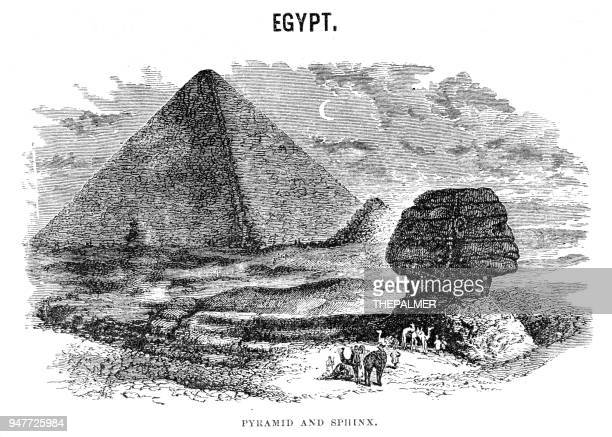 pyramid and sphinx engraving 1881 - the sphinx stock illustrations, clip art, cartoons, & icons
