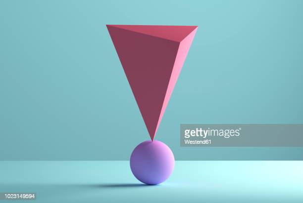 pyramid balancing on a sphere, 3d rendering - colored background stock illustrations