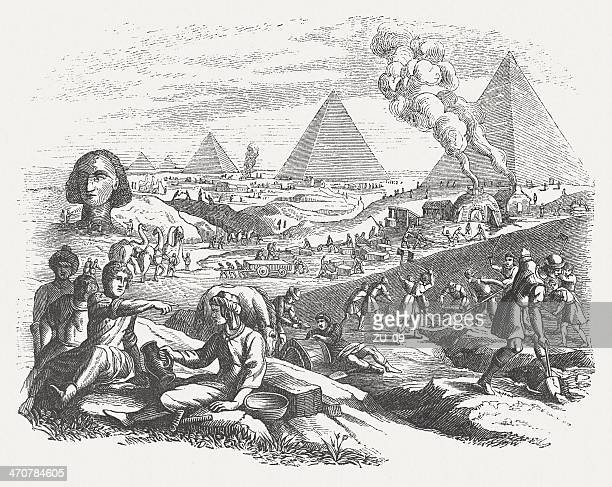 pyramid construction in ancient egypt, wood engraving, published in 1864 - giza stock illustrations