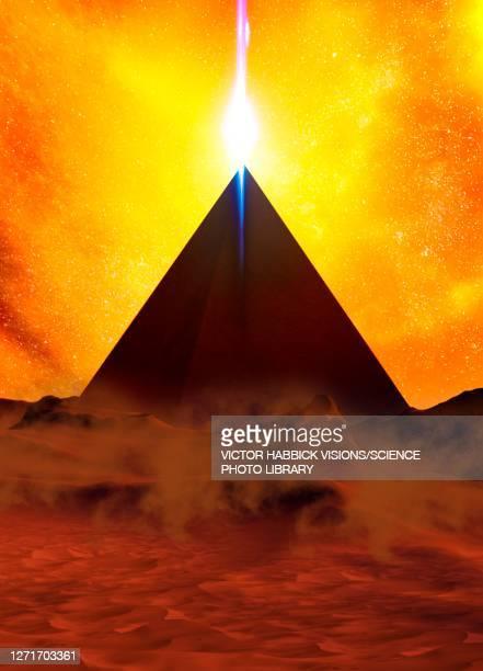 pyramid power plant, conceptual illustration - history stock illustrations