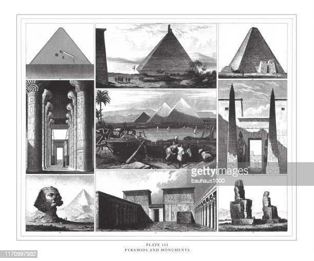 pyramids and monuments engraving antique illustration, published 1851 - nubia stock illustrations, clip art, cartoons, & icons