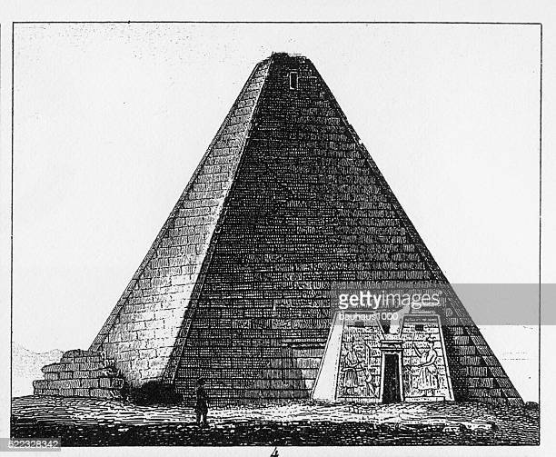 pyramids at assur in nubia engraving - nubia stock illustrations, clip art, cartoons, & icons