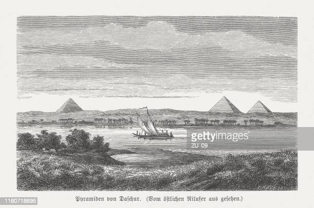 pyramids of dahshur, egypt, wood engraving, published in 1879 - archaeology stock illustrations