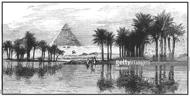 Pyramids of Giza during a Nile flooding