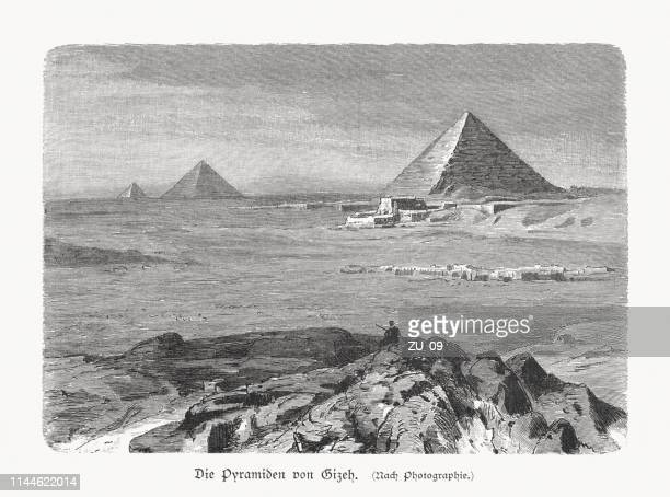 pyramids of giza in egypt, wood engraving, published in 1897 - giza stock illustrations