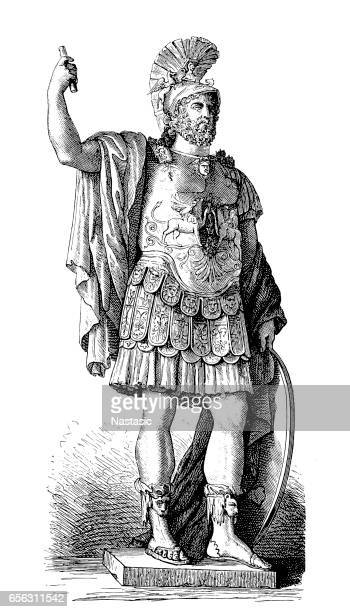 pyrrhus greek general  warrior - alexander the great stock illustrations