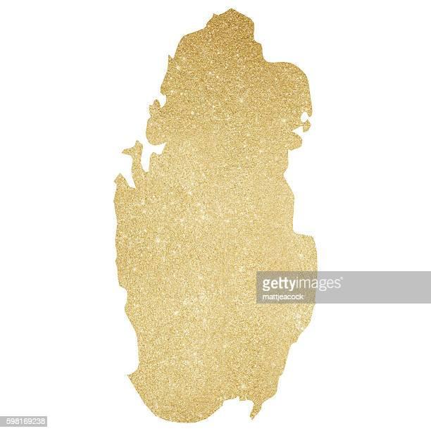 qatar gold glitter map - qatar stock illustrations, clip art, cartoons, & icons
